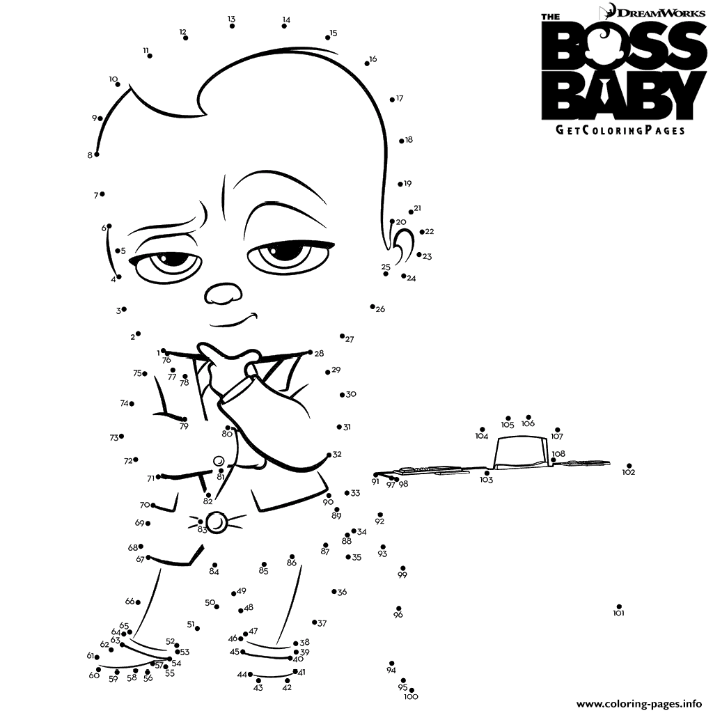 Charming 1024x1024 The Boss Baby Connect The Dots Coloring Pages Printable