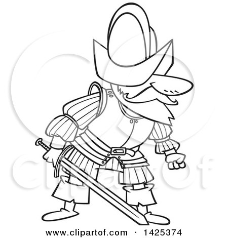 450x470 Clipart Of A Cartoon Black And White Lineart Mad Conquistador