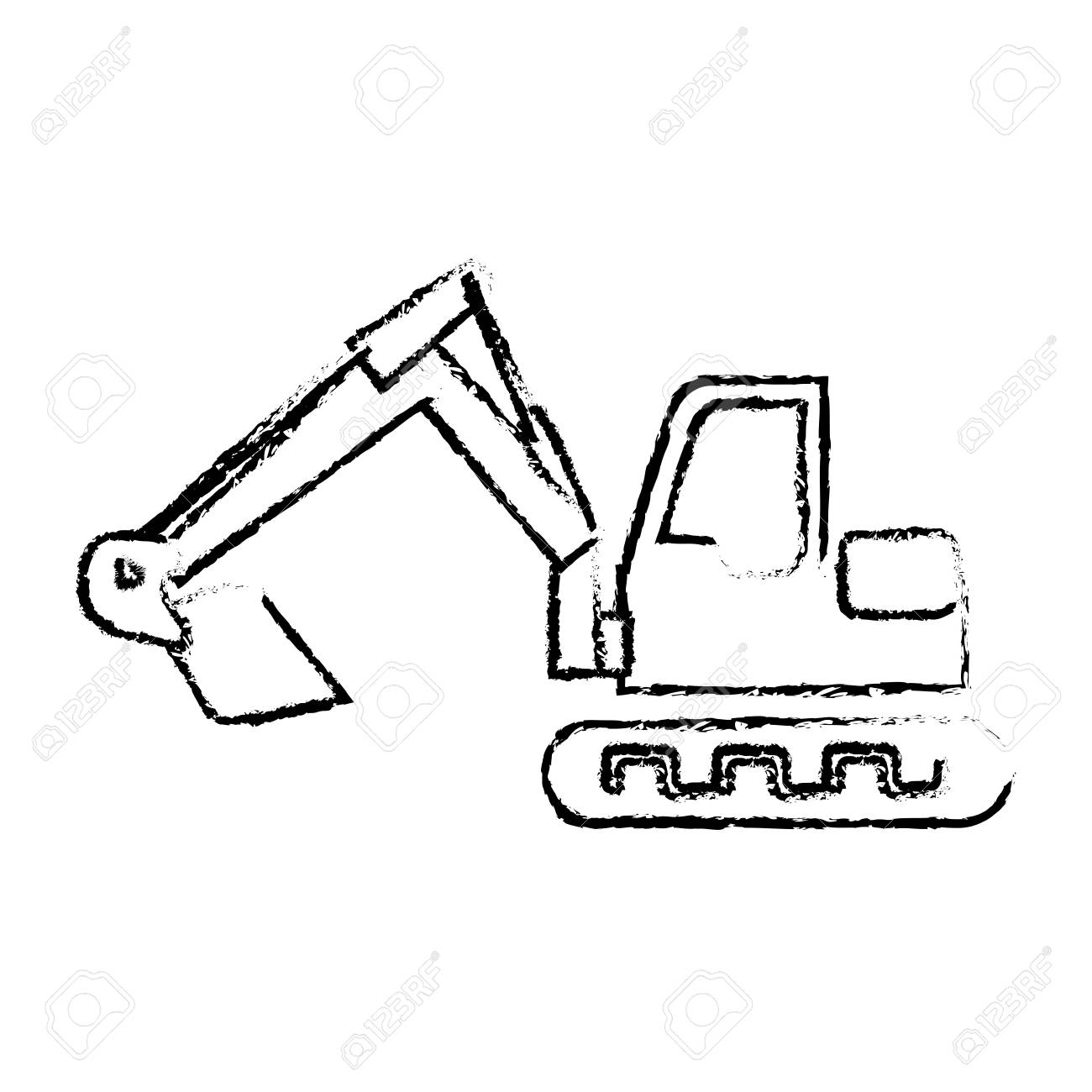 1300x1300 Silhouette Sketch Blurred Backhoe With Crane For Construction