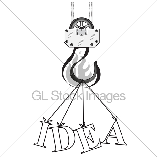 500x500 Construction Crane Hook And Word Idea Gl Stock Images
