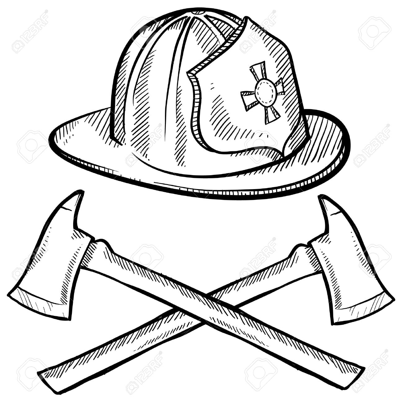 1300x1300 Doodle Style Firefighter's Helmet And Axes In Vector Format Stock