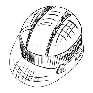 320x320 Hand Drawn Vector Drawing Of A Construction Hard Hat. Stock
