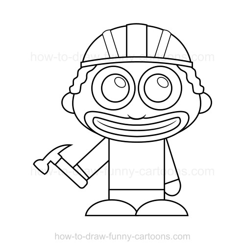 500x513 How To Draw A Construction Worker