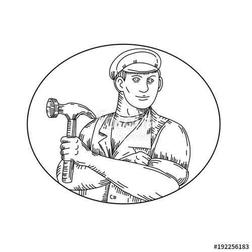 500x500 Mono Line Illustration Of A Vintage Carpenter, Handyman, Builder