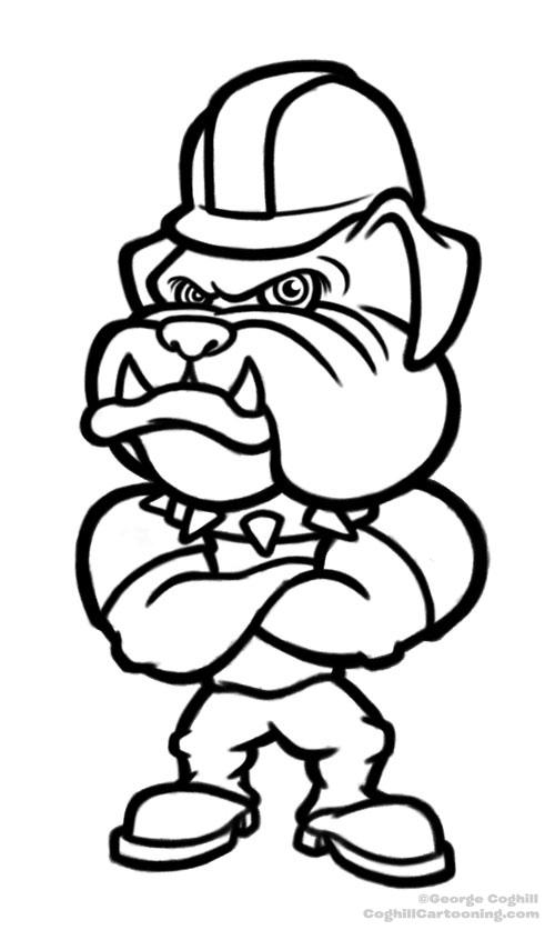 500x837 Cartoon Bulldog With Hard Hat Sketch Working Final Sketch