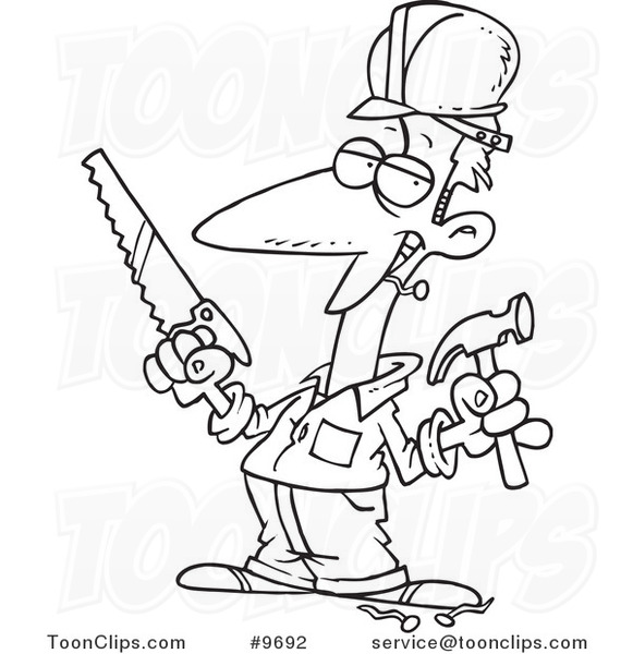 581x600 Cartoon Black And White Line Drawing Of A Construction Guy Holding