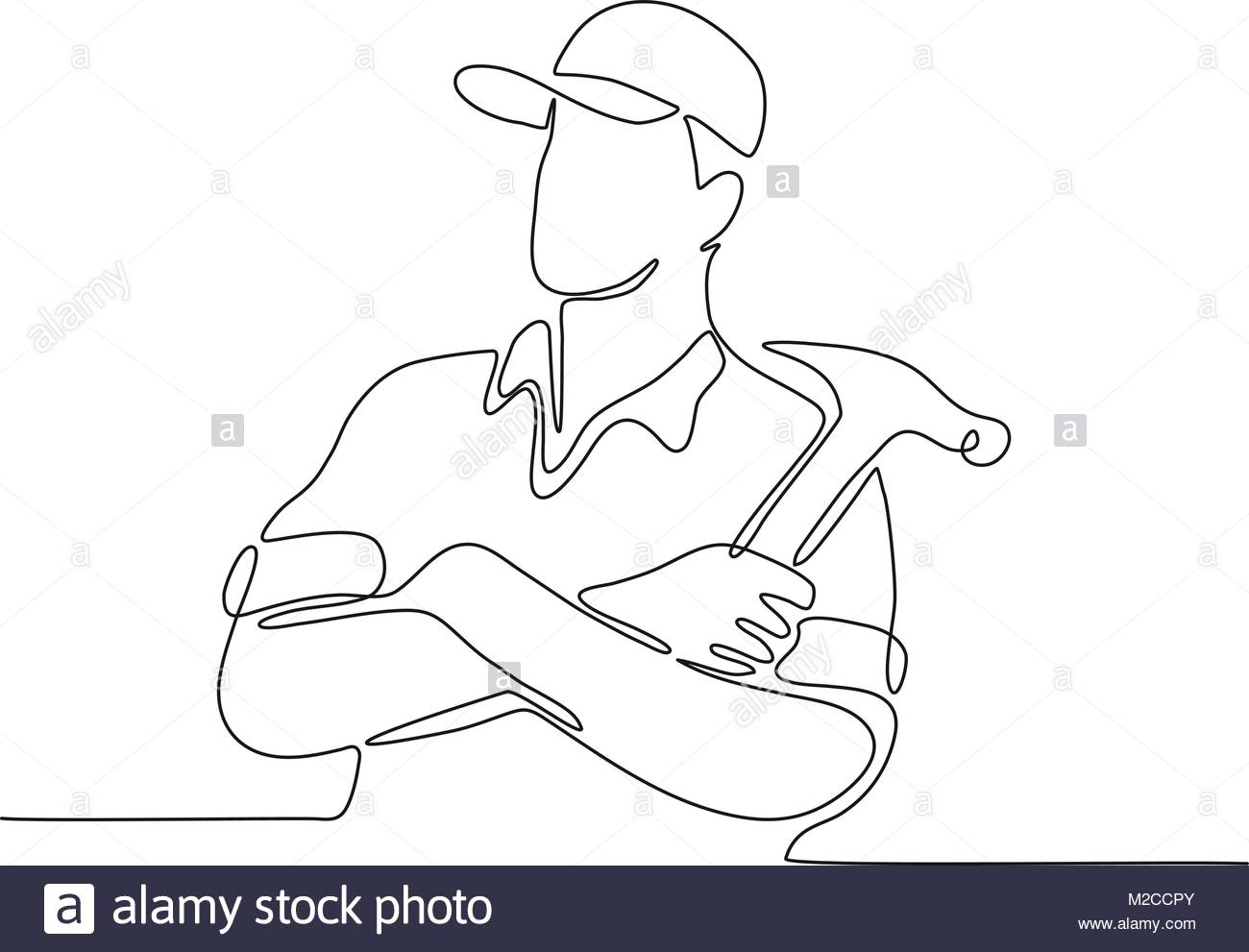 1300x991 Continuous Line Drawing Illustration Of A Builder, Carpenter