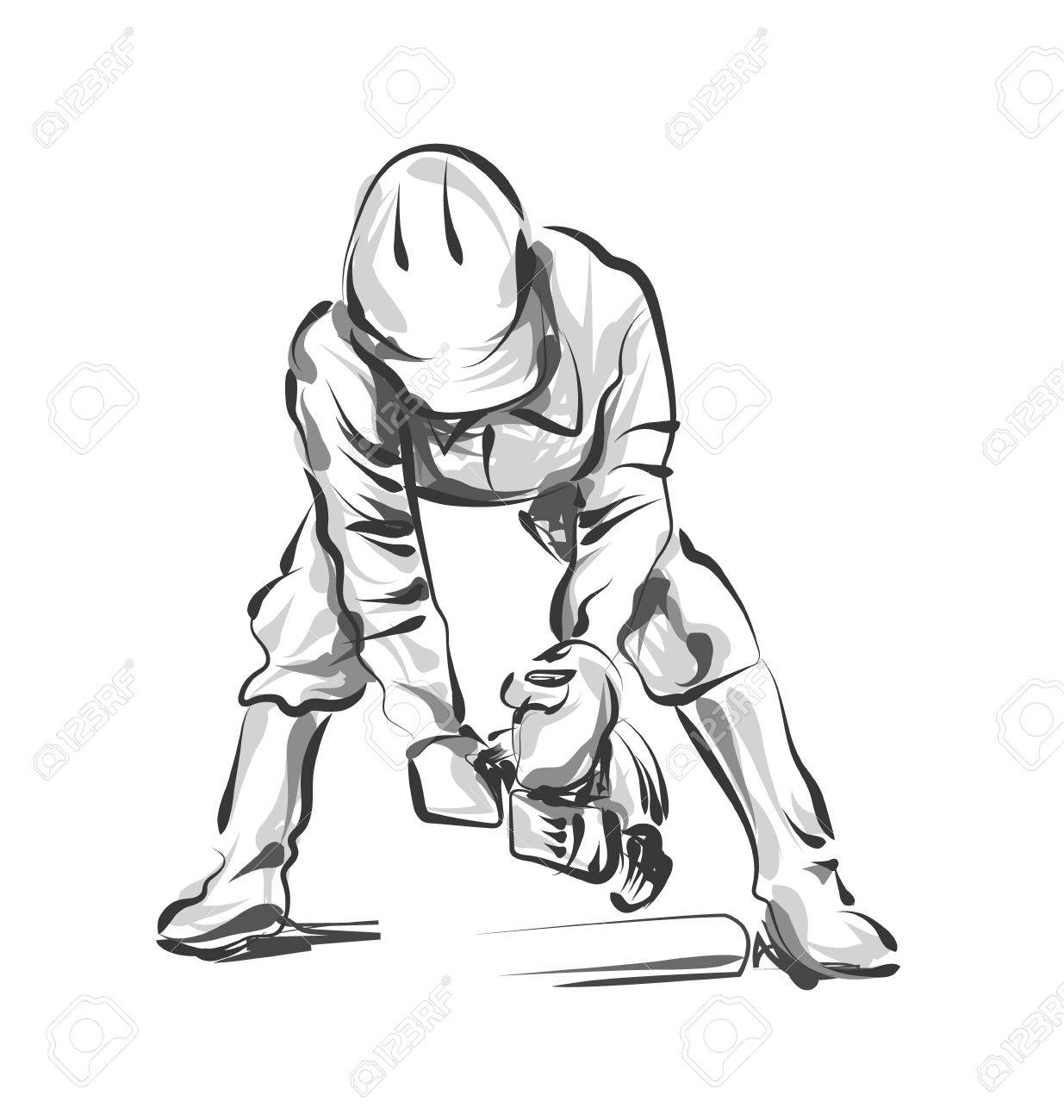 1235x1300 Vector Line Sketch Construction Worker Royalty Free Cliparts