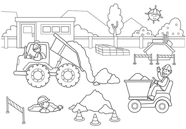 600x418 Construction Zone Coloring Pages Construction Site Coloring Pages