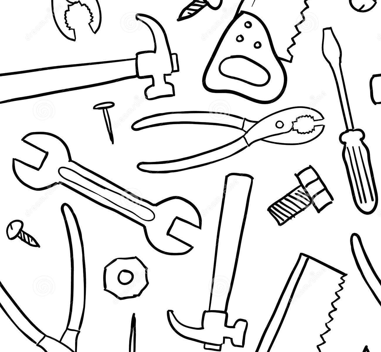 wrench coloring page - construction tools drawing at free for