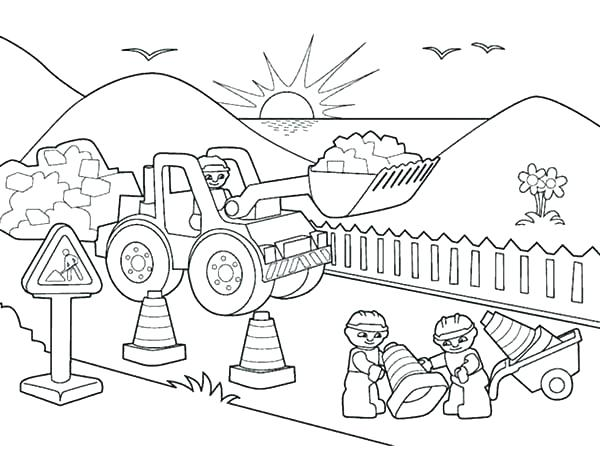 600x454 Construction Coloring Pages Construction Coloring Pages Bulldozer