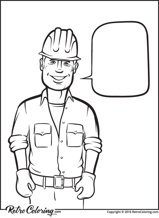 Construction Worker Coloring Page - Landskapisci.com