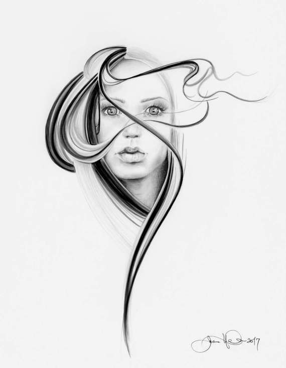 570x733 Original Black And White Minimalist Drawing Of A Girl Ooak Sketch