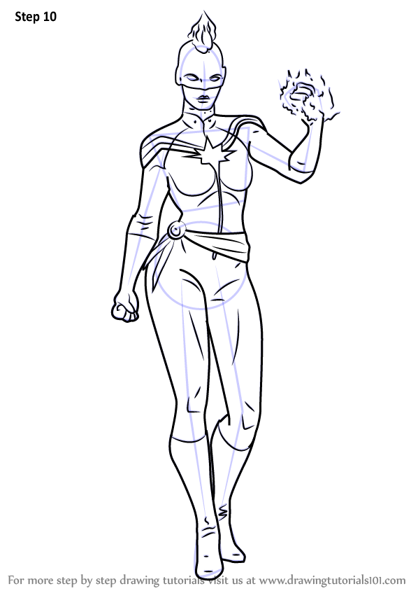 598x844 Learn How To Draw Captain Marvel From Marvel Contest Of Champions