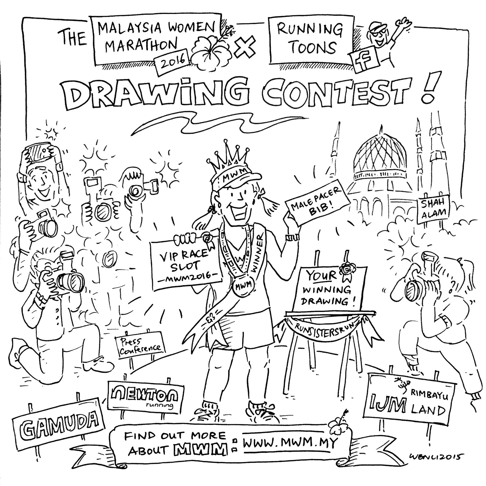 1600x1600 Malaysia Women Marathon 2016 Drawing Contest By Running Toons