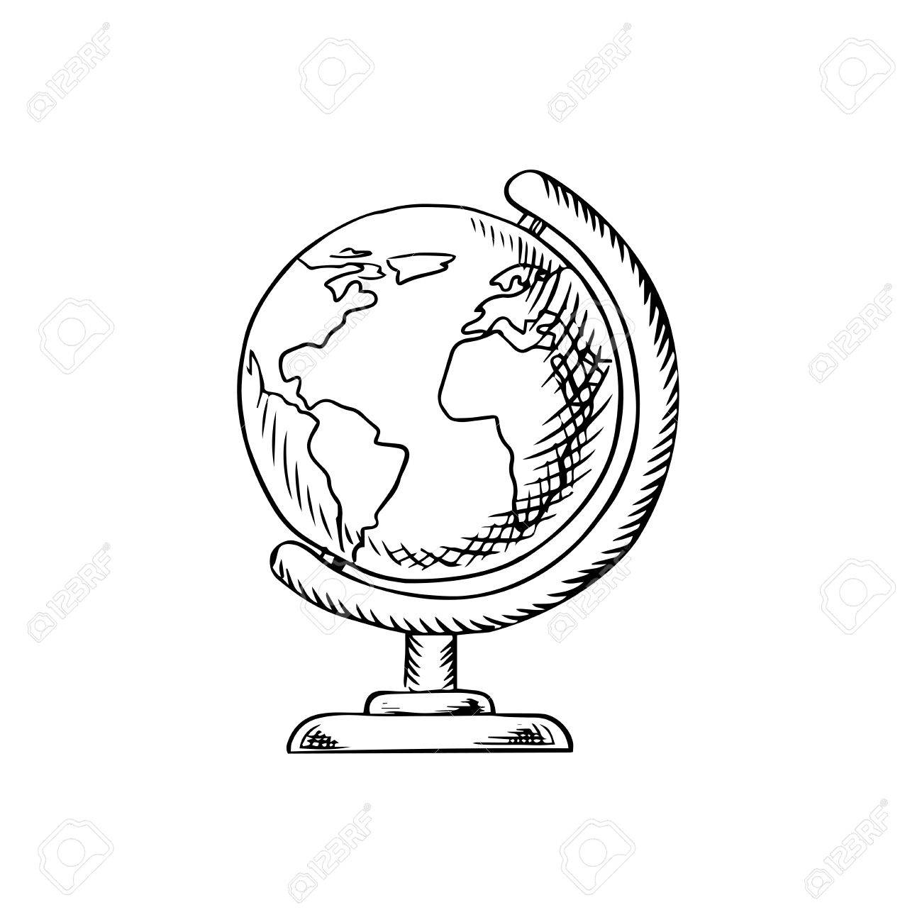 1300x1300 Modern Globe With Continents, Oceans And Seas On Desktop Stand