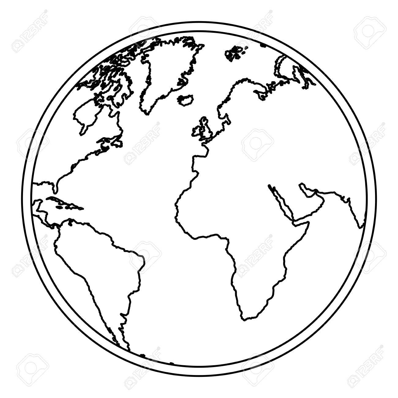 1300x1300 Silhouette Earth World Map With Continents Icon Vector