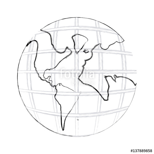 500x500 Monochrome Contour Hand Drawing Of Earth World Map With Continents