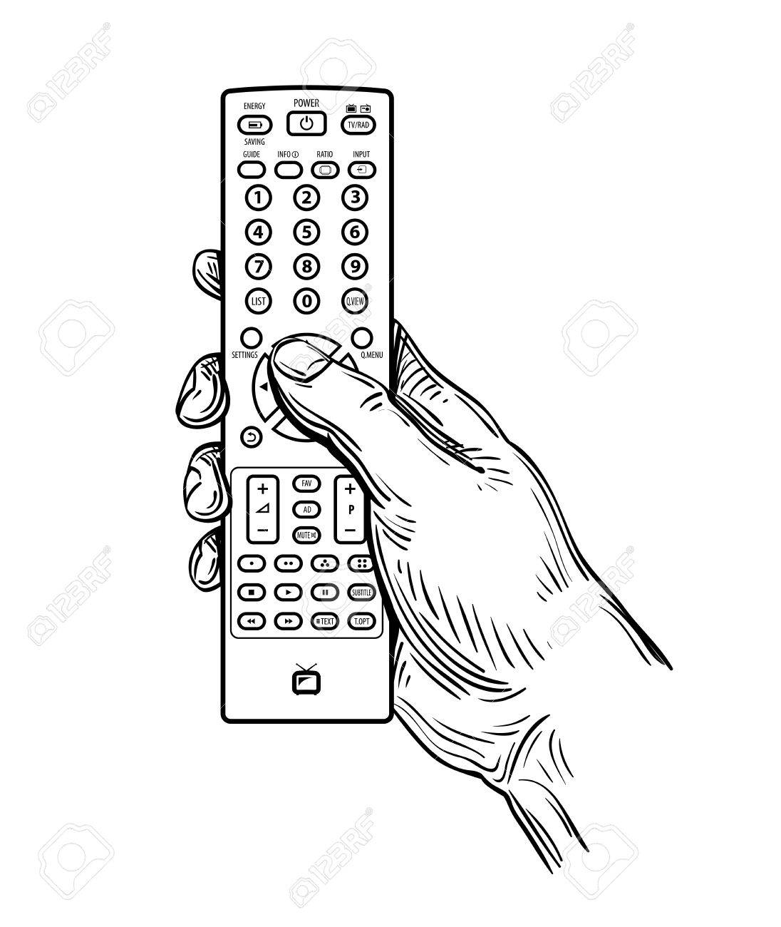 1096x1300 Hand Drawn Tv Remote Control Isolated On White Background Royalty