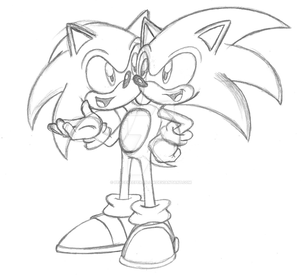 1024x936 2 Headed Sonic Conversation (Sketch) By Peacekeeperj3low