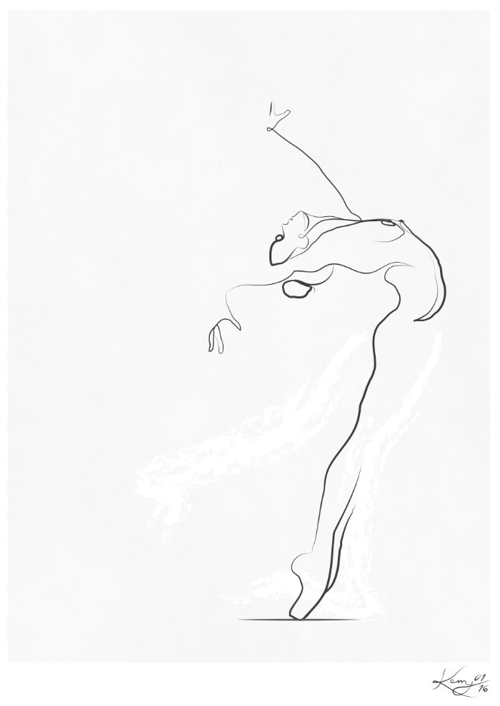 700x989 Flight', Dancer Line Drawing Art Print By Kerry Kisbey Society6