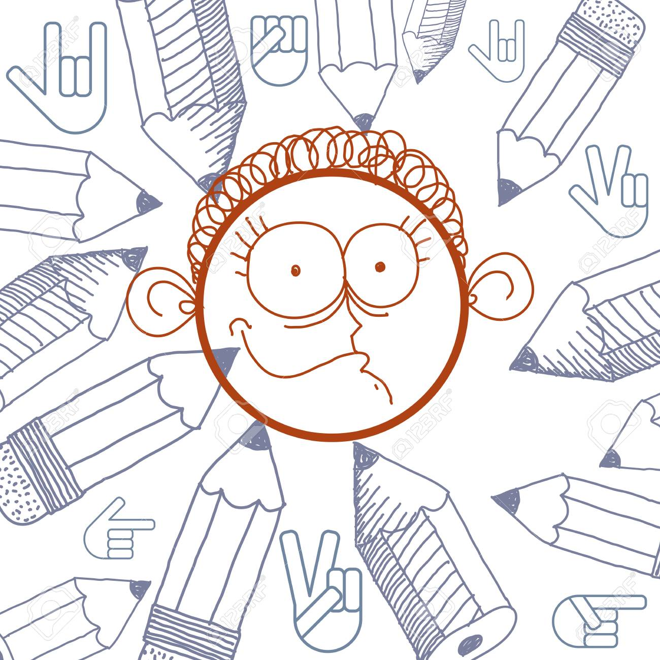 1300x1300 Vector Hand Drawn Cartoon Happy Boy. Education Theme Graphic