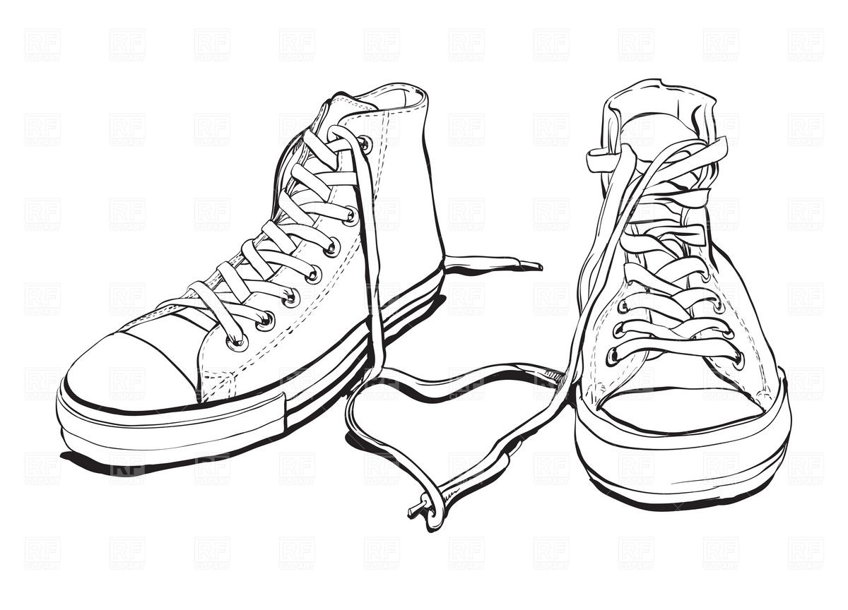 d58c1083b94f 1200x864 Converse Shoe Drawing Drawn Converse Tennis Shoe