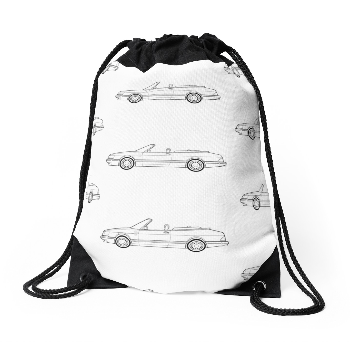 1435x1404 Saab 900 Convertible Outline Drawing Drawstring Bags By