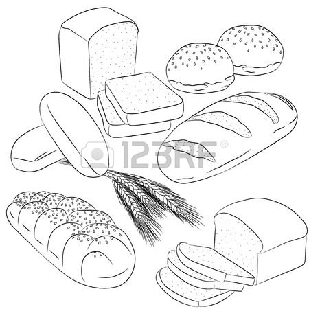 450x450 Vector Line Art Illustration With Food. Set With Various Bread