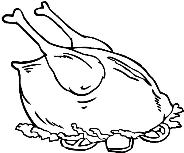 600x499 Cooking Complete Chicken And Drumstick Coloring Pages