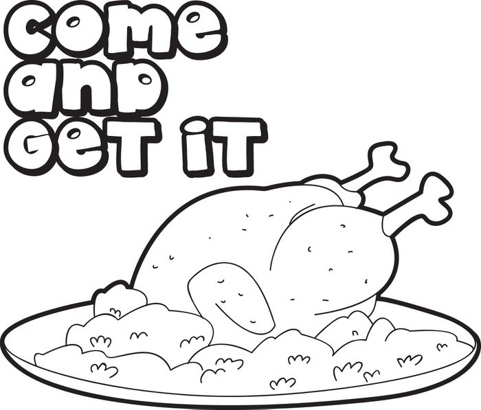 700x597 FREE Printable Cooked Thanksgiving Turkey Coloring Page For Kids