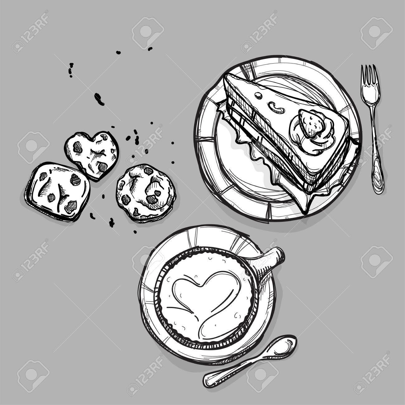 1300x1300 Food Cake Coffee Dessert Cookie Set Drawing Graphic Illustrate