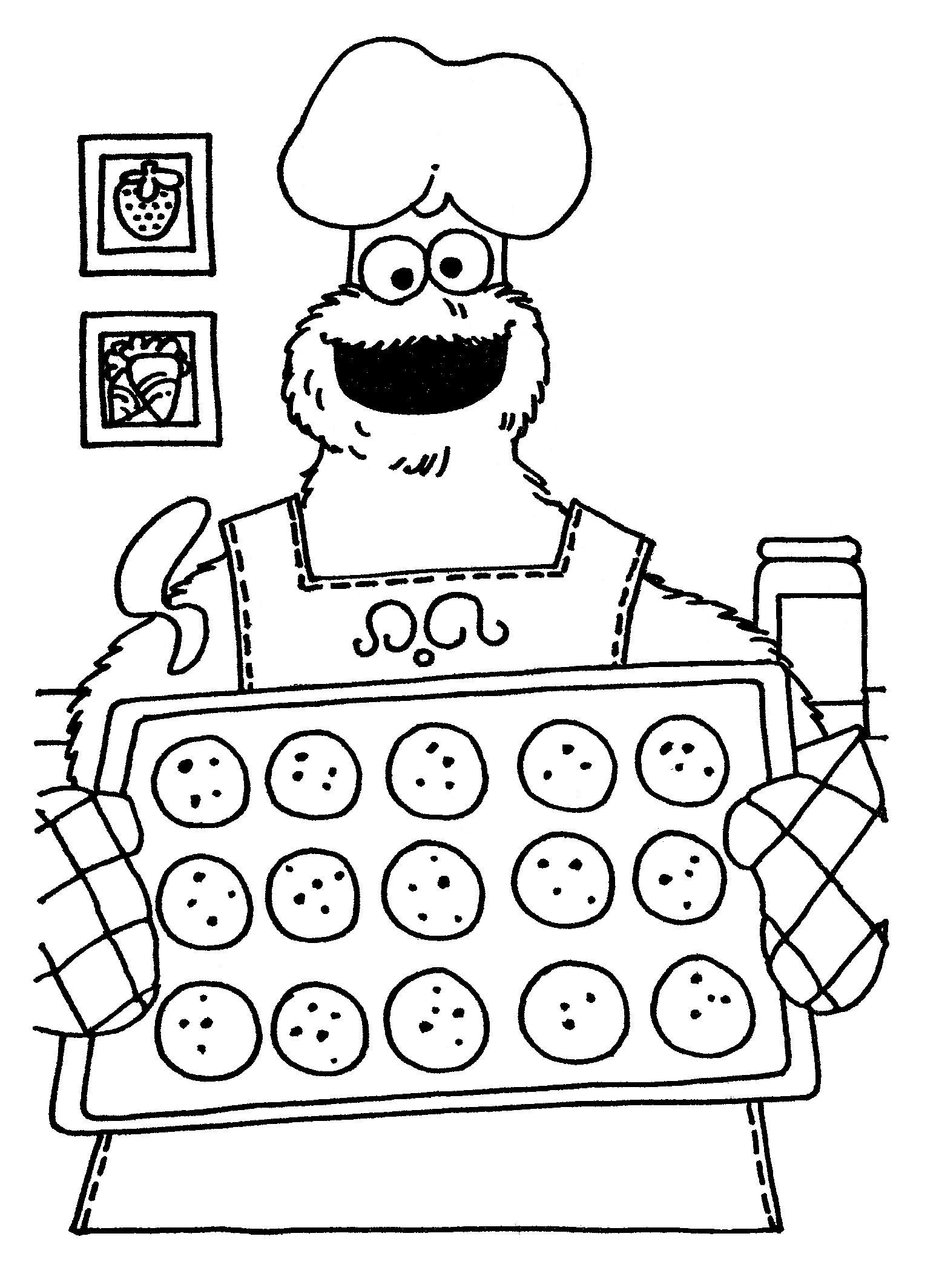 1556x2128 Cookie Monster Baking (Coloring Pages) Coloring Pages