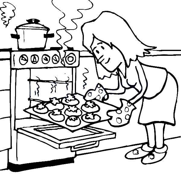 600x580 Baking Cookies In The Oven Coloring Pages Best Place To Color