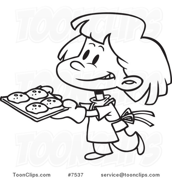 581x600 Cartoon Black And White Line Drawing Of A Girl Baking Cookies
