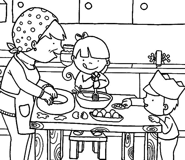 Cartoon Kitchen Coloring Sheets