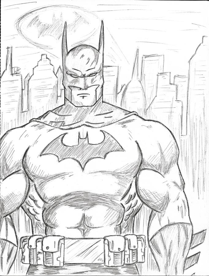 682x900 Batman Sketch By Vulcanenki