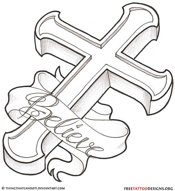 Cool Cross Drawing