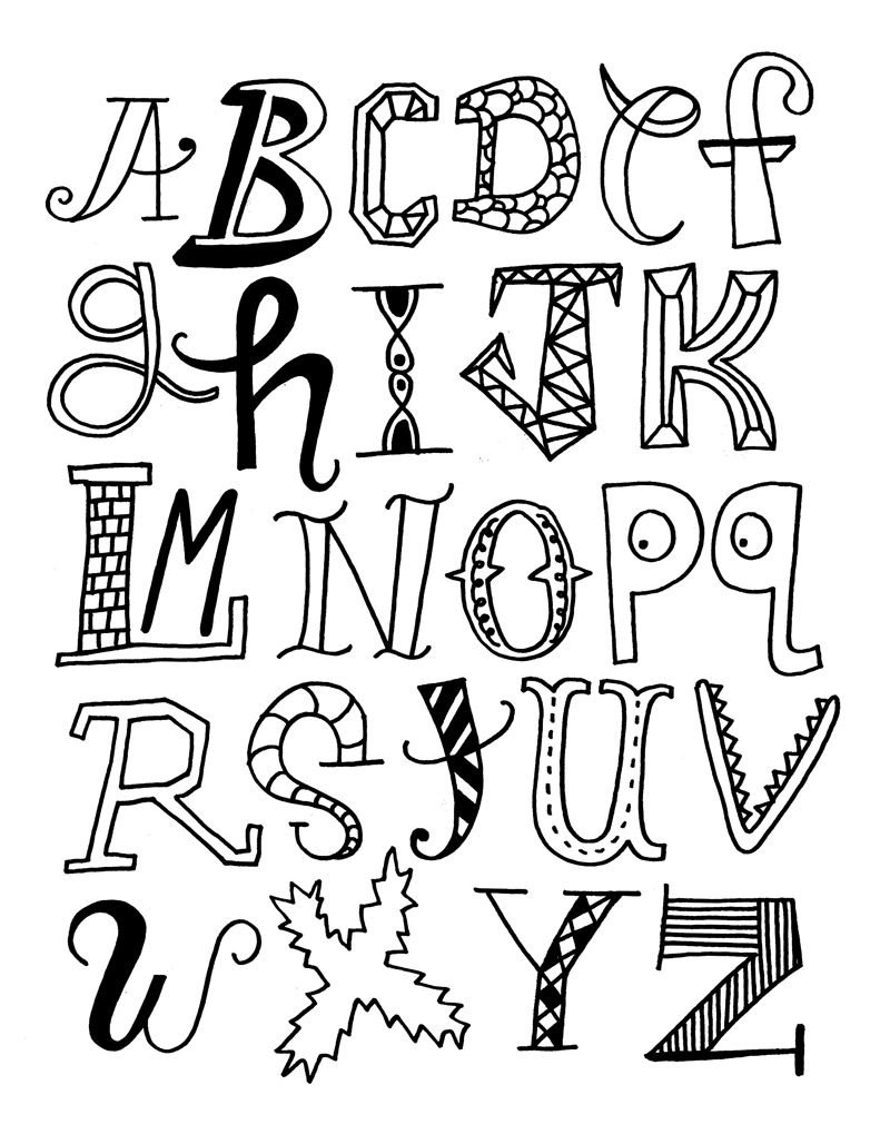 800x1028 Fun Font (Color Around The Solid Black Letters) Lettering