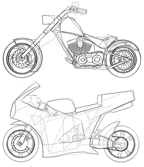 600x696 How To Draw Vehicles Motorcycles