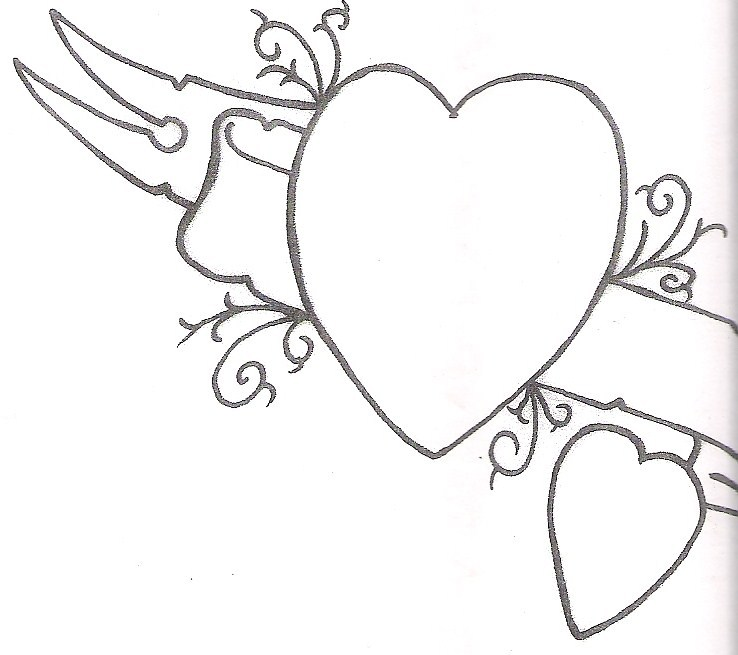 738x655 Cool Banner And Hearts Tattoos Designs