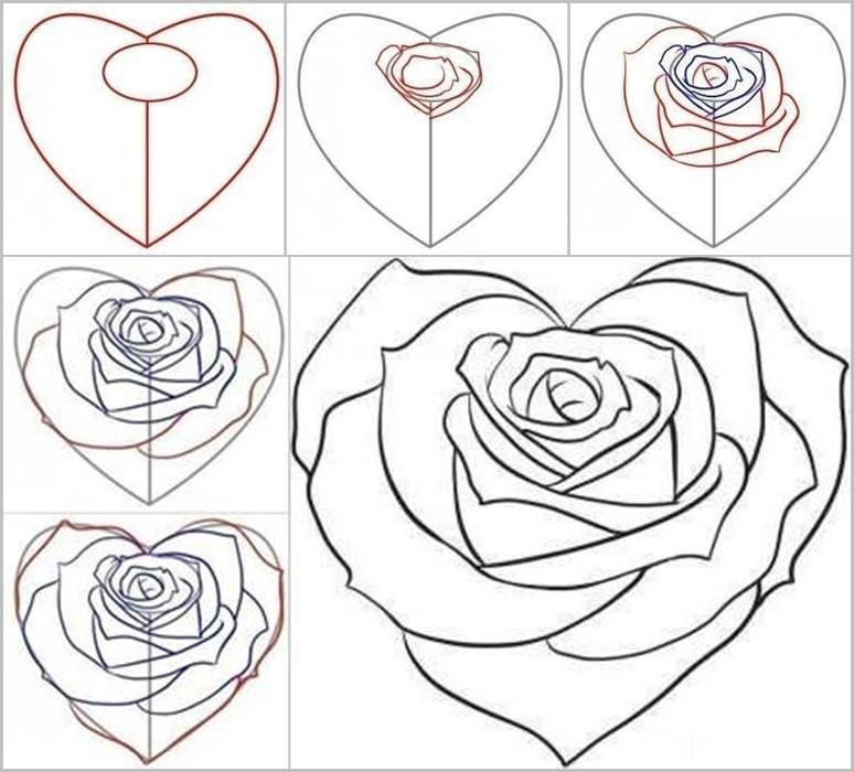 774x700 Drawn rose love heart