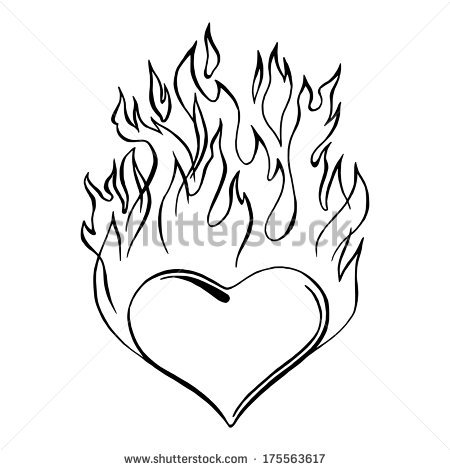 450x470 Hearts On Fire Drawing Heart On Fire Clip Art