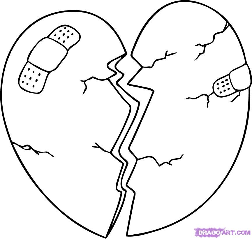 865x820 Broken Hearts Coloring Pages