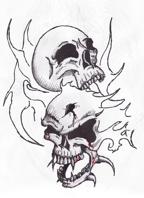600x822 Cool Drawings Of Skulls On Fire