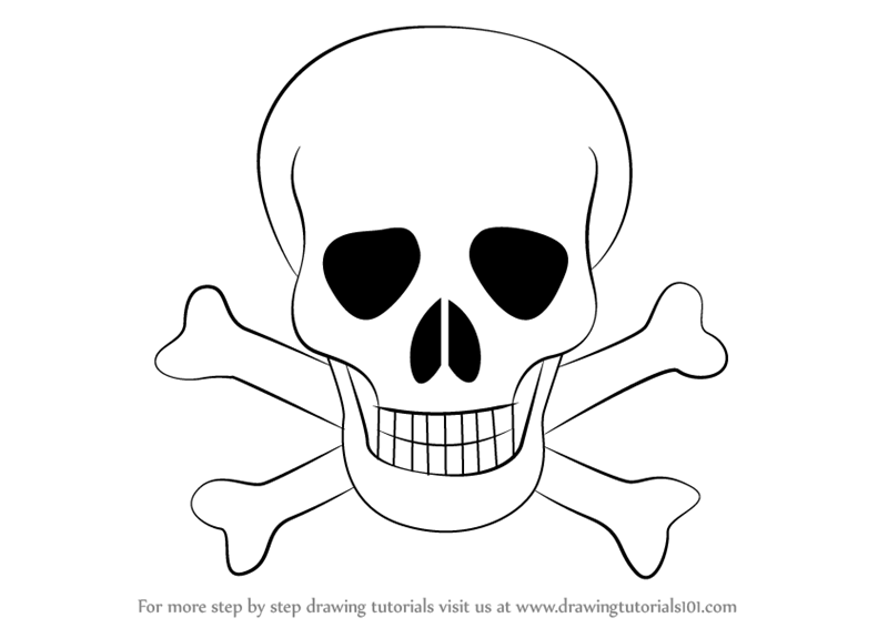 800x566 Learn How To Draw Skull With Crossbones (Skulls) Step By Step