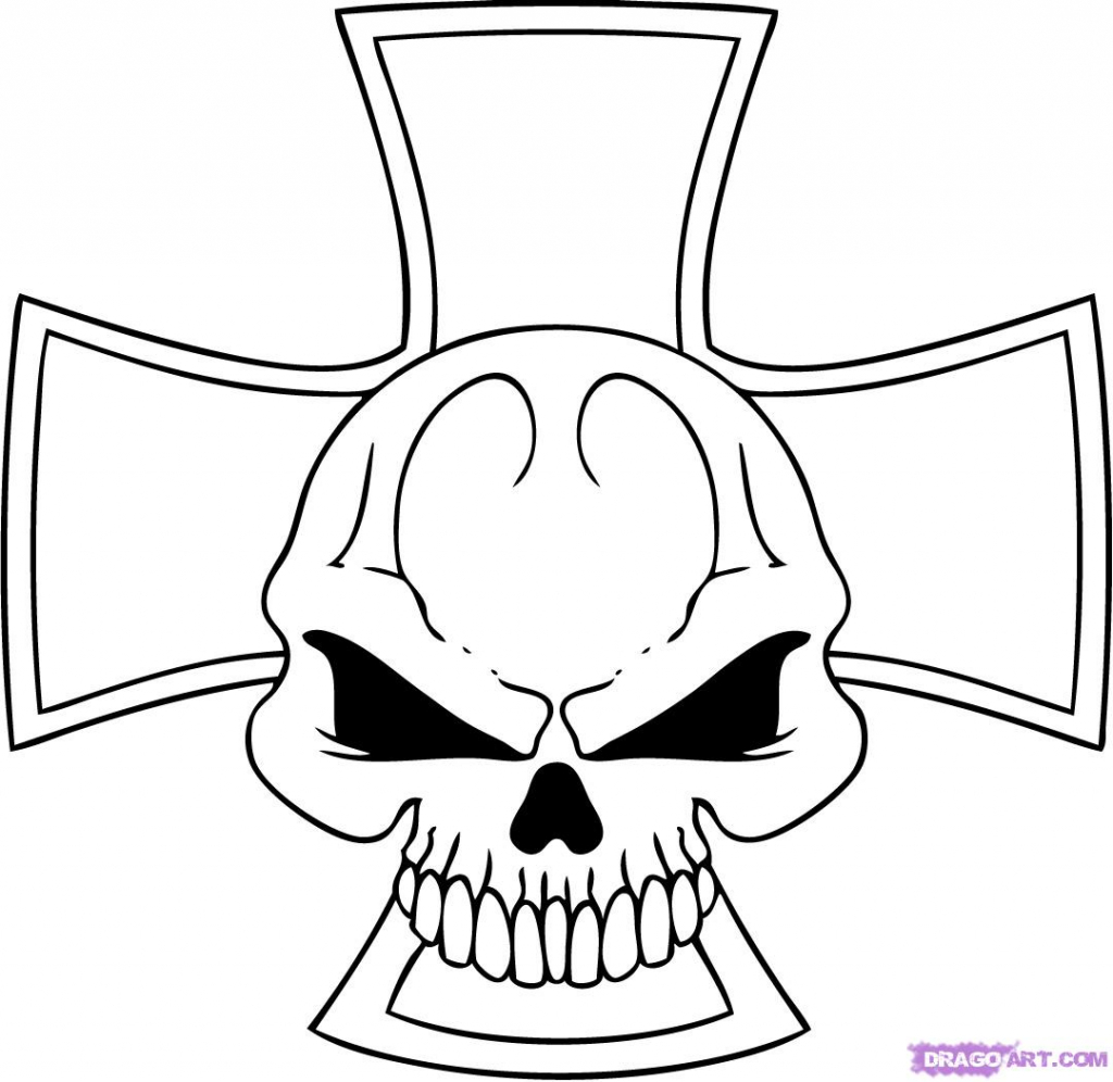 1024x996 Cool Drawing Of Skulls How To Draw An Iron Skull Cross Step Step