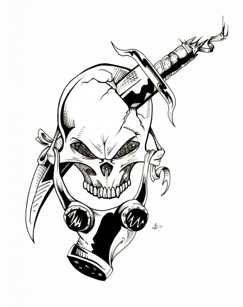 810x1024 Cool Skull Gas Mask Drawing Gas Mask Dude Lebowski