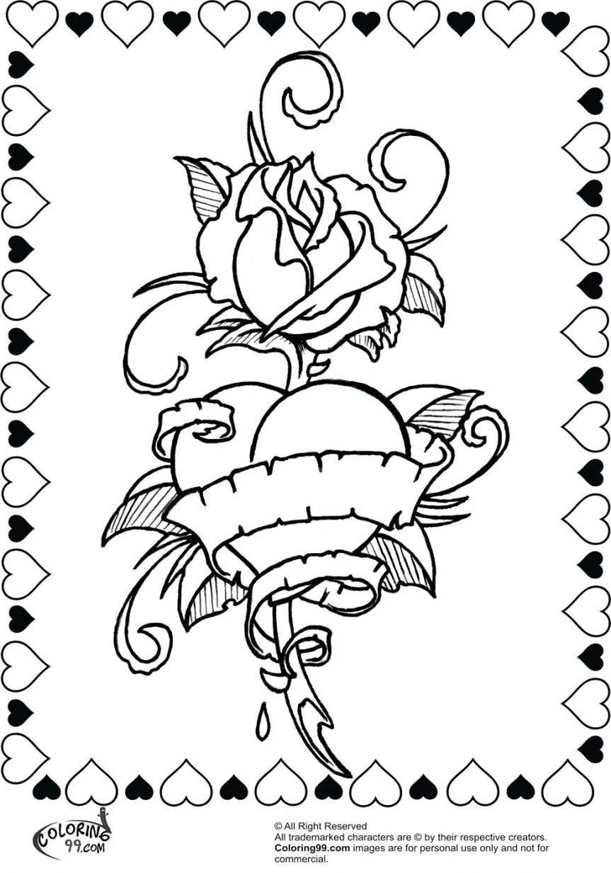 cool heart coloring pages - cool hearts drawing at free for personal