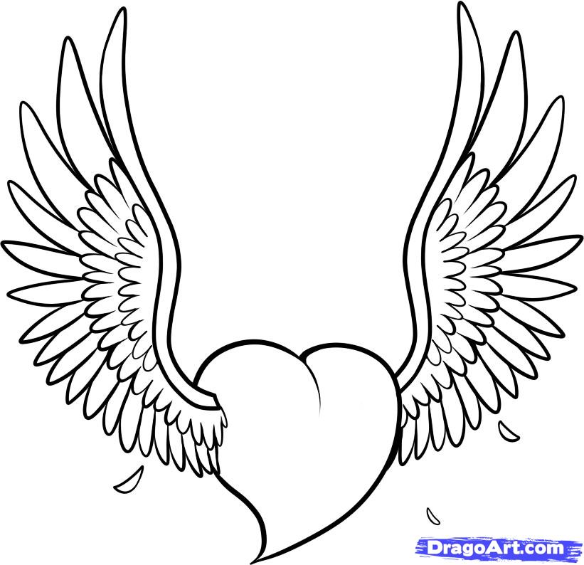 821x794 Hearts With Wings Drawings